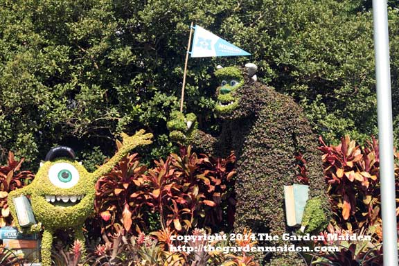 Monsters, Inc topiary. Epcot's International Flower and Garden Festival, 2014. May.  Image by The Garden Maiden, copyright 2014.